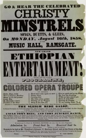 Handbill for Christy Minstrels at Music Hall, Ramsgate. August 16, 1858.