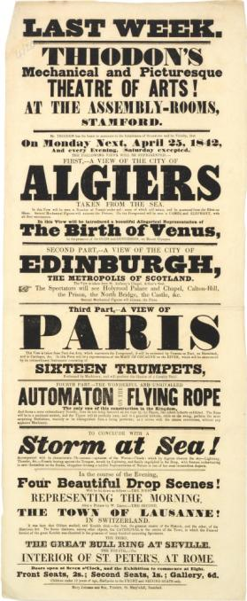 Playbill for Thiodon's Mechanical and Picturesque Theatre of Arts at the Assembly Rooms, Stamford. April 25, 1842