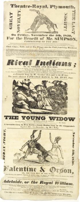 Playbill for Theatre-Royal, Plymouth. November 5, 1830