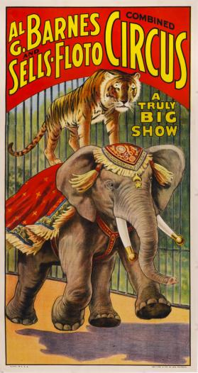 Al G. Barnes-Sells Floto Circus: Tiger and Elephant