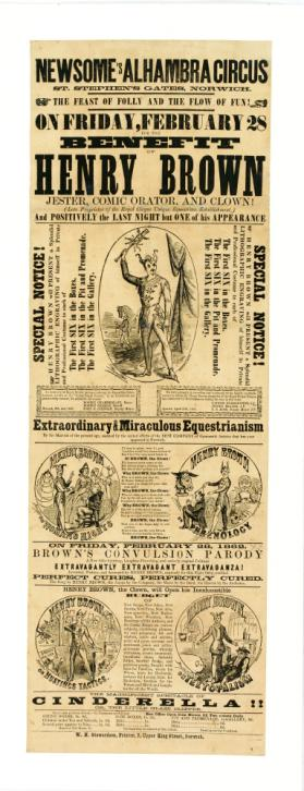 Playbill for Newsome's Alhambra Circus, Norwich. February 28, 1862