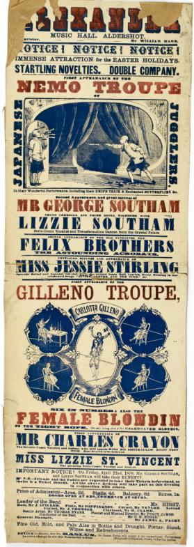 Playbill for Alexandra Music Hall, Aldershot. Easter Holidays, 1870