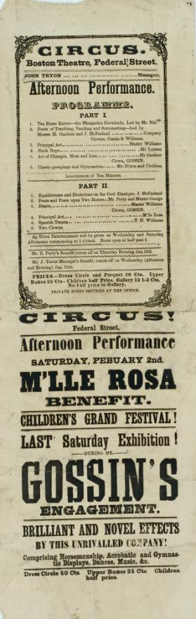 Handbill Program for Circus, Boston Theatre, Federal Street, Boston. February 2, 1843