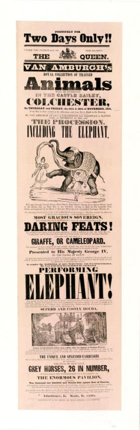 Playbill for Van Amburgh's Royal Collection of Trained Animals. November 25-26, 1841