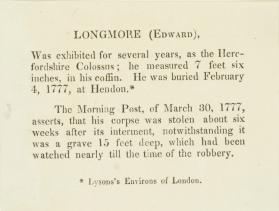 Account of the burial of Edward Longmore