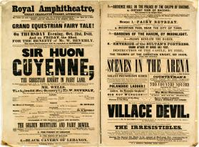 Double page playbill for Royal Amphitheatre, Great Charlotte Street, Liverpool. October 21, 1841