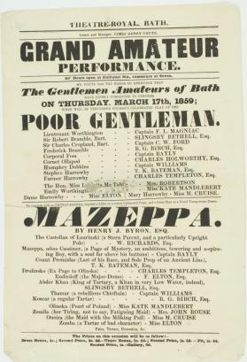 Handbill for Theatre Royal, Bath. March 17, 1859