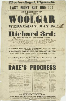Playbill for Theatre Royal, Plymouth. May 18, 1835