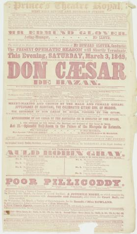 Handbill for Prince's Theatre Royal, Glasgow. March 3, 1849