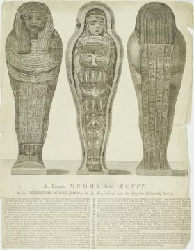 Advertisement for A Female Mummy from Egypt at the Exhibition-School-Room in the King's Road near the Pagoda, Richmond, Surrey