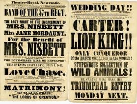Double page playbill for Theatre-Royal, Newcastle. July 1, 1843