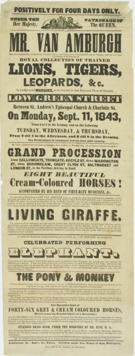 Playbill for Mr. Van Amburgh's Royal Collection of Trained Lions, Tigers and Leopards. Glasgow, Scotland. September 11, 1843