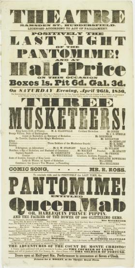 Playbill for Theatre, Ramsden Street, Huddersfield. April 26, 1856