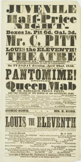 Playbill for Theatre, Ramsden Street, Huddersfield. April 22, 1856
