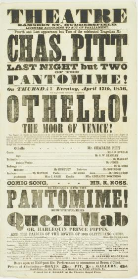 Playbill for Theatre, Ramsden Street, Huddersfield. April 17,1856