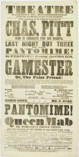 Playbill for Theatre, Ramsden Street, Huddersfield. April 16, 1856