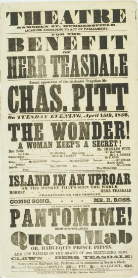 Playbill for Theatre, Ramsden Street, Huddersfield. April 15, 1856