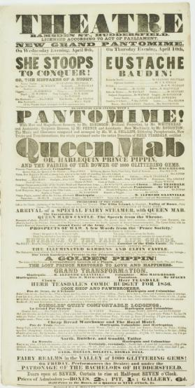 Playbill for Theatre, Ramsden Street, Huddersfield. April 9-10, 1856