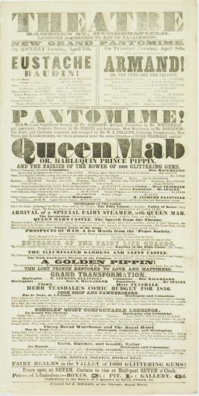 Playbill for Theatre, Ramsden Street, Huddersfield. April 7-8, 1856