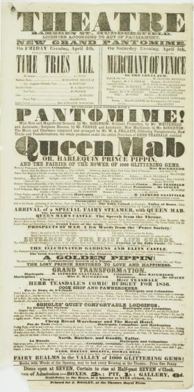 Playbill for Theatre, Ramsden Street, Huddersfield. April 4-5, 1856