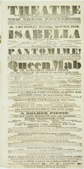Playbill for Theatre, Ramsden Street, Huddersfield. April 3, 1856