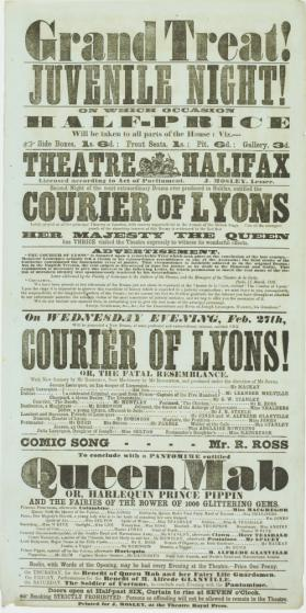 Playbill for Theatre Halifax. February 27, 1856
