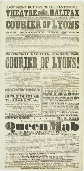 Playbill for Theatre Halifax. February 25, 1856