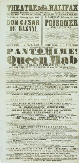 Playbill for Theatre Halifax. February 22-23, 1856