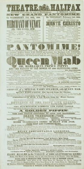 Playbill for Theatre Halifax. February 20-21, 1856