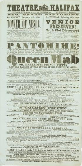Playbill for Theatre Halifax. February 18 - 19, 1856