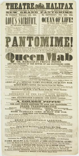 Playbill for Theatre Halifax. February 15-16, 1856