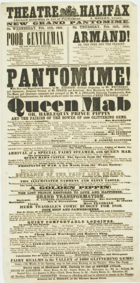 Playbill for Theatre Halifax. February 13-14, 1856