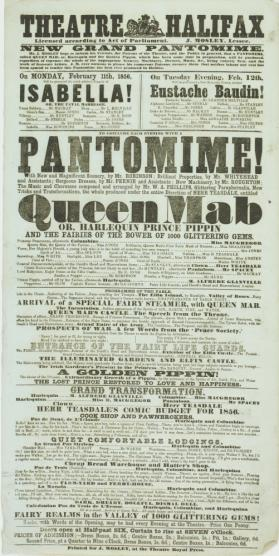 Playbill for Theatre Halifax. February 11-12, 1856