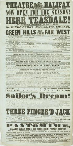 Playbill for Theatre Halifax. February 6, 1856