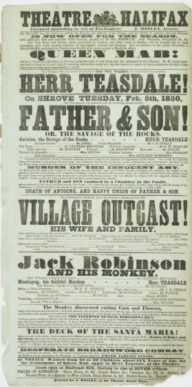 Playbill for Theatre Halifax. February 5, 1856