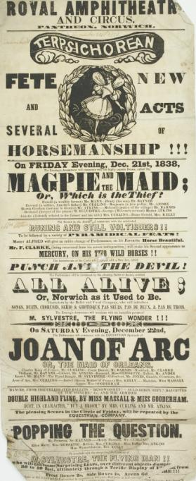 Playbill for Royal Amphitheatre and Circus Pantheon, Norwich. December 21, 1838