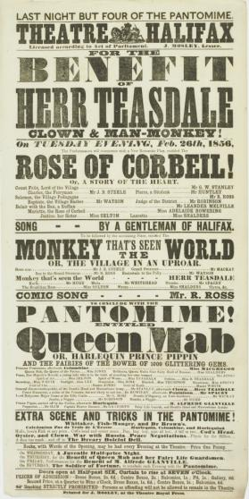 Playbill for Theatre Halifax. February 26, 1856