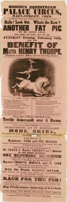 Playbill for Hogini's Equestrian Palace Circus, Cork. February 12, 1861