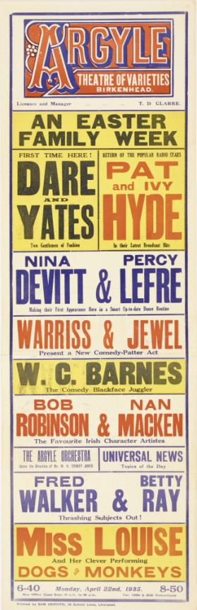 Playbill for Argyle Theatre of New Varieties, Birkenhead. April 22, 1935