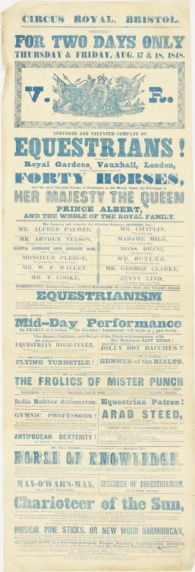 Playbill for Circus Royal, Bristol. August 17-18, 1848