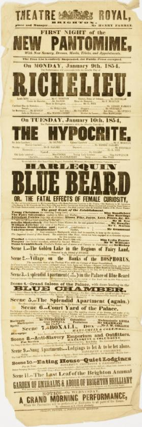 Playbill for Theatre Royal, Brighton. January 9, 1854