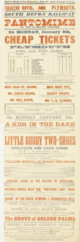 Playbill for Theatre Royal, Plymouth. January 9, 1871