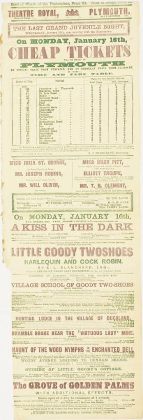 Playbill for Theatre Royal, Plymouth. January 16, 1871