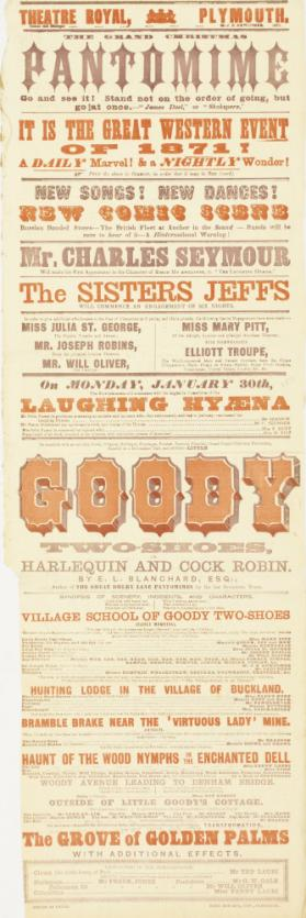 Playbill for Theatre Royal, Plymouth. January 30, 1871