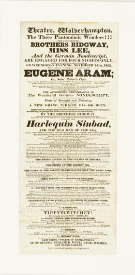 Playbill for Theatre, Wolverhampton. November 14, 1832