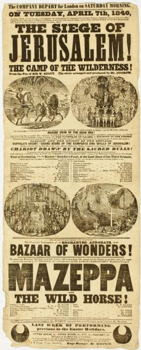 Playbill for Ducrow's Company, in Birmingham. April 7, 1840