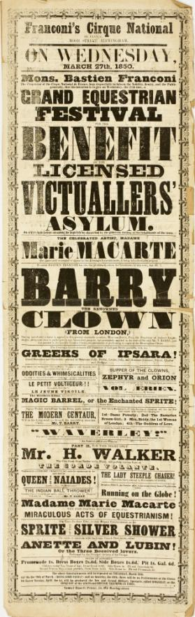 Playbill for Franconi's Cirque National, Birmingham. March 27, 1850