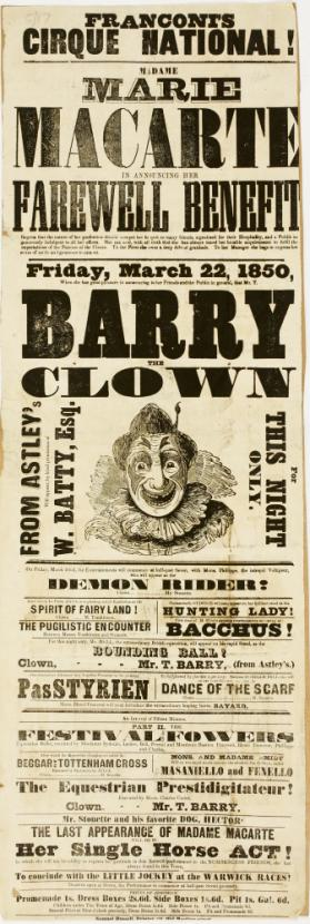 Playbill for Franconi's Cirque National, Birmingham. March 22, 1850