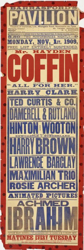 Playbill for Barrasford's Pavilion, Liverpool. November 1, 1909