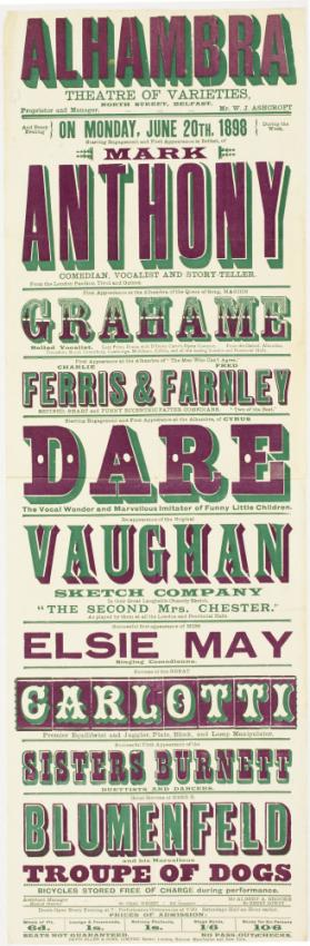 Playbill for Alhambra Theatre of Varieties, Belfast. June 20, 1898